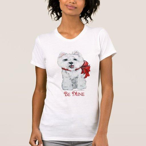 Tarjeta del día de San Valentín Westie - sea mina Camisetas