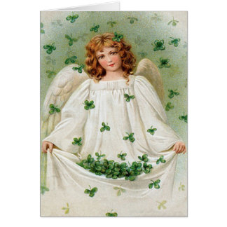 Tarjeta del día de St Patrick del ángel del trébol