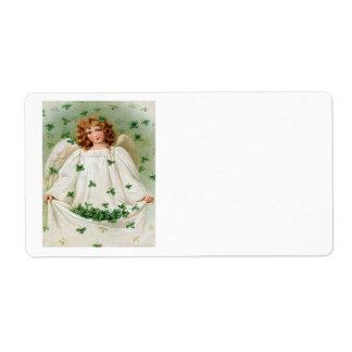 Tarjeta del día de St Patrick del ángel del trébol Etiquetas De Envío