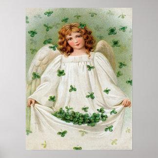 Tarjeta del día de St Patrick del ángel del trébol Poster