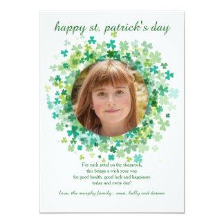 """Tarjeta del día de St Patrick del marco del trébol Invitación 5"""" X 7"""""""