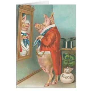 Tarjeta del día de St Patrick del trébol del cerdo
