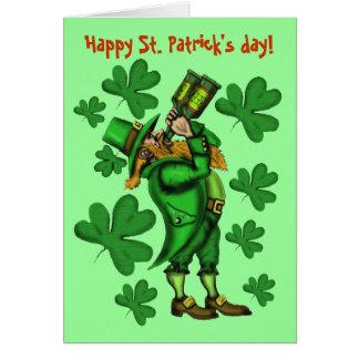 Tarjeta del día de St Patrick feliz del leprechaun