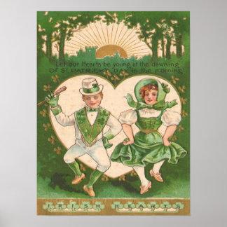 Tarjeta del día de St Patrick irlandés de los cora Poster