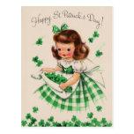 Tarjeta del día del chica del vintage de St Tarjetas Postales
