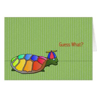 Tarjeta del día del inocente lindo de la tortuga