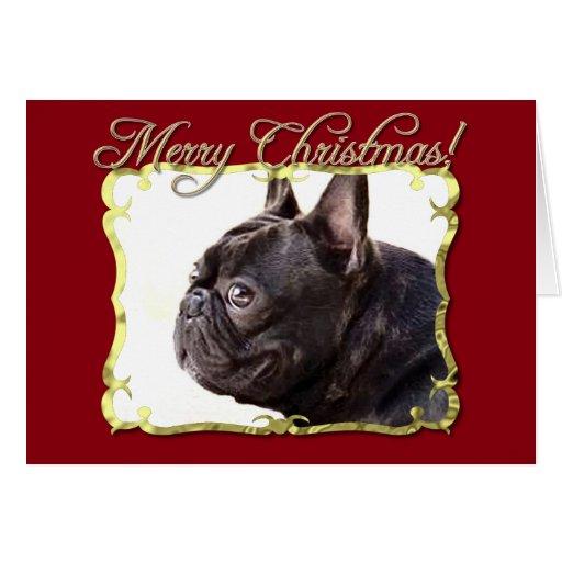 Tarjeta del dogo francés de las Felices Navidad