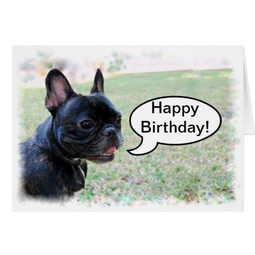 Tarjeta del dogo francés del feliz cumpleaños