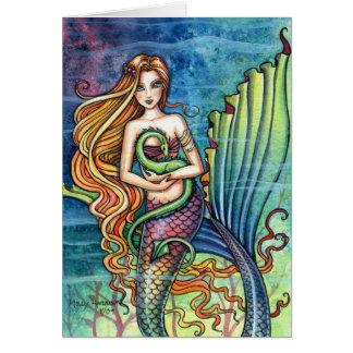 Tarjeta del dragón de la sirena y del mar por