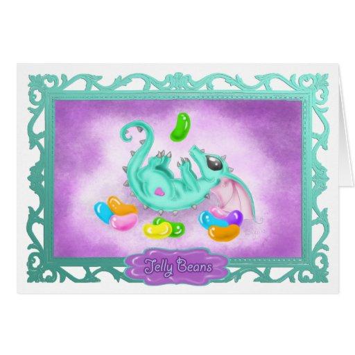 Tarjeta del dragón del caramelo de la haba de jale