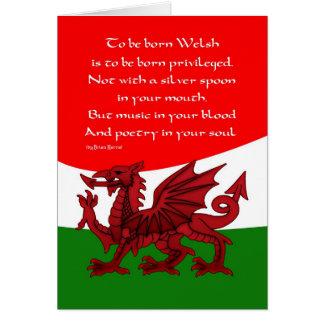 Tarjeta del dragón Galés - poema de Brian Harris
