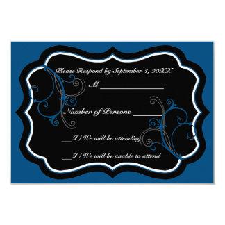 """Tarjeta del ébano B RSVP (azul) de Kurli-Q Invitación 3.5"""" X 5"""""""