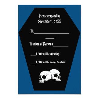 """Tarjeta del ébano II (azul) RSVP del ataúd Invitación 3.5"""" X 5"""""""
