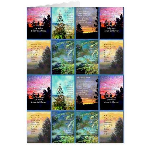 Tarjeta del edredón de los árboles del rezo de la