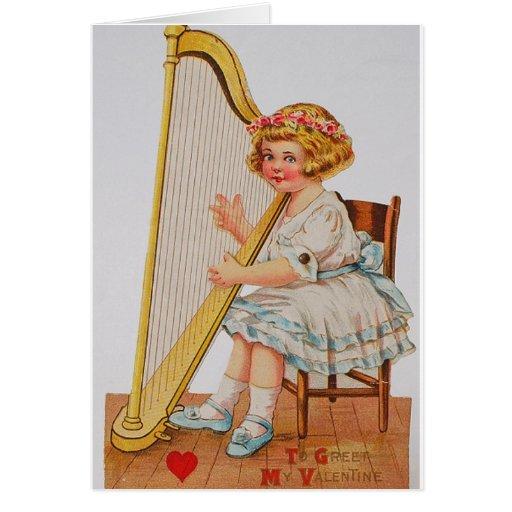 Tarjeta del el día de San Valentín de la arpa del