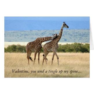 Tarjeta del el día de San Valentín de la jirafa