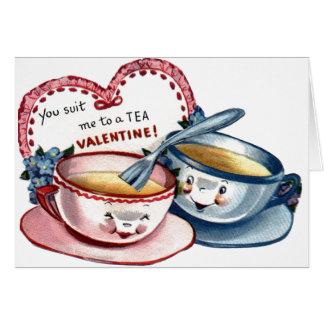 Tarjeta del el día de San Valentín de las tazas de