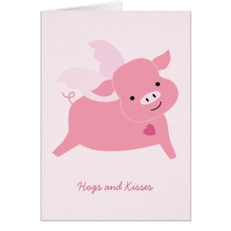 Tarjeta del el día de San Valentín de los cerdos y