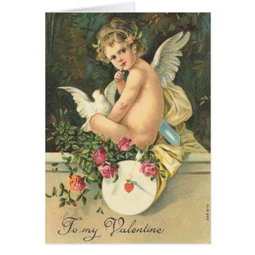 Tarjeta del el día de San Valentín del ángel del V