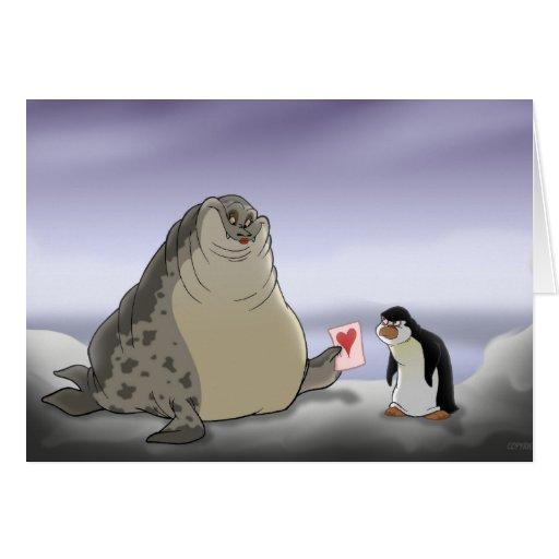 Tarjeta del el día de San Valentín del pingüino y