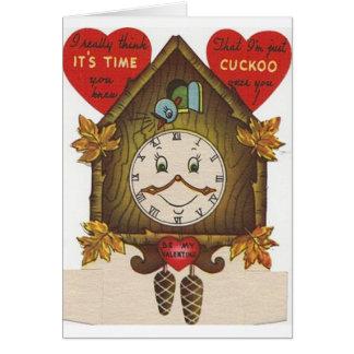 Tarjeta del el día de San Valentín del reloj de cu