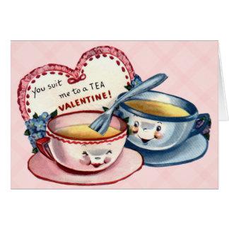 Tarjeta del el día de San Valentín del vintage par