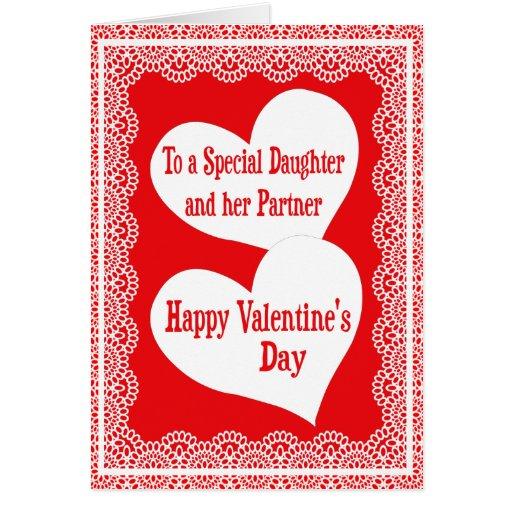 Tarjeta del el día de San Valentín para la hija y