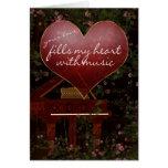 Tarjeta del el día de San Valentín - piano, música