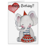 Tarjeta del elefante del cumpleaños
