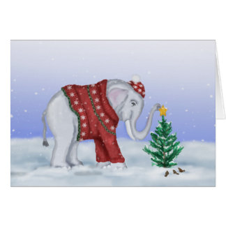 Tarjeta del elefante del navidad