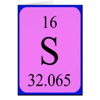 Tarjeta del elemento 16 - azufre