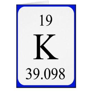 Tarjeta del elemento 19 - blanco del potasio