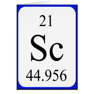 Tarjeta del elemento 21 - blanco del escandio