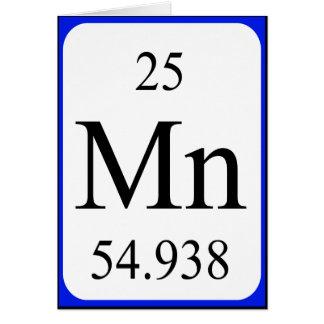 Tarjeta del elemento 25 - blanco del manganeso