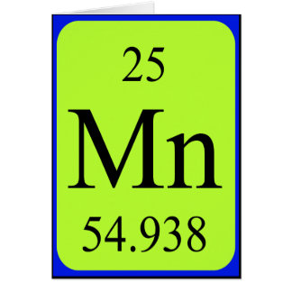 Tarjeta del elemento 25 - manganeso