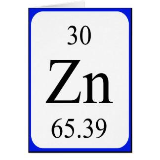 Tarjeta del elemento 30 - blanco de cinc