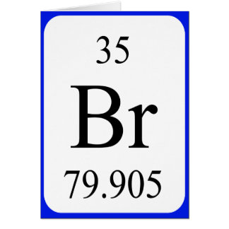 Tarjeta del elemento 35 - blanco del bromo