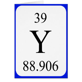Tarjeta del elemento 39 - blanco del itrio