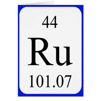 Tarjeta del elemento 44 - blanco del rutenio