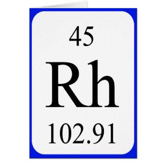Tarjeta del elemento 45 - blanco del rodio