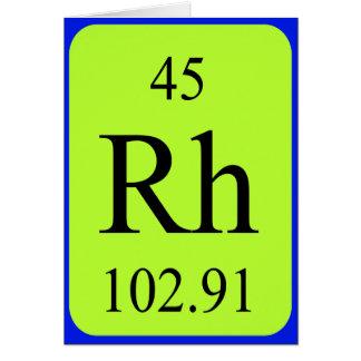 Tarjeta del elemento 45 - rodio