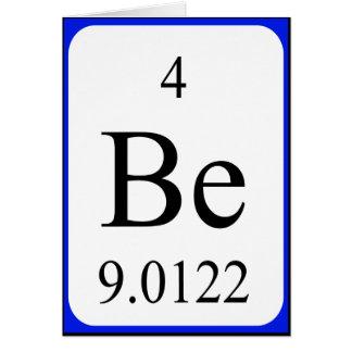 Tarjeta del elemento 4 - blanco del berilio
