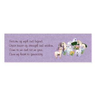 Tarjeta del encanto del unicornio tarjetas de visita mini