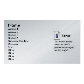 Tarjeta del error divertida plantillas de tarjeta de negocio