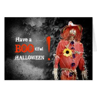 Tarjeta del espantapájaros de Halloween