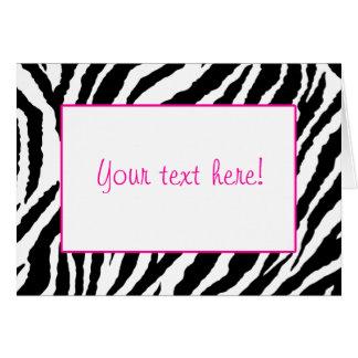 Tarjeta del estampado de zebra