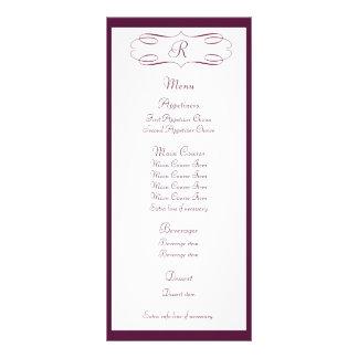 Tarjeta del estante del menú del boda del monogram plantilla de lona