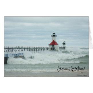 Tarjeta del faro de Sandy el lago Michigan del Sup