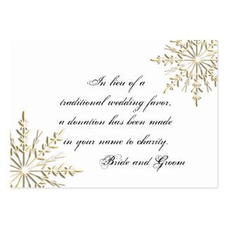 Tarjeta del favor de la caridad del boda del copo tarjeta de negocio