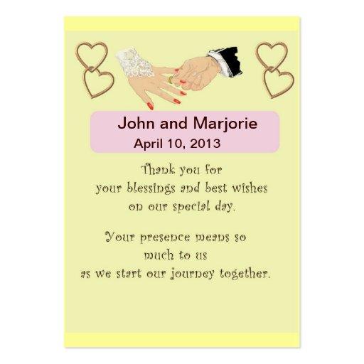 Tarjeta del favor/del lugar del boda tarjeta de visita